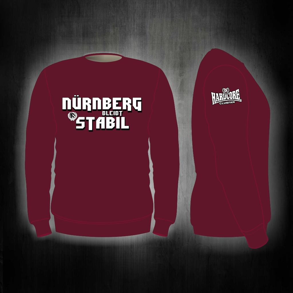 Sweat Shirt  Front + Ärmeldruck   Nürnberg bleibt stabil weinr