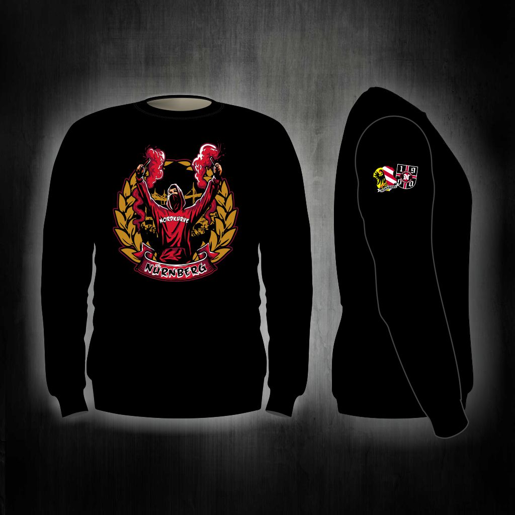 Sweat Shirt  Front + Ärmeldruck   Fan mit Pyro + Lorbbeerkranz