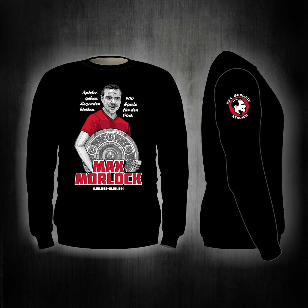Sweat Shirt  Front + Ärmeldruck   Max Morlock  schwarz