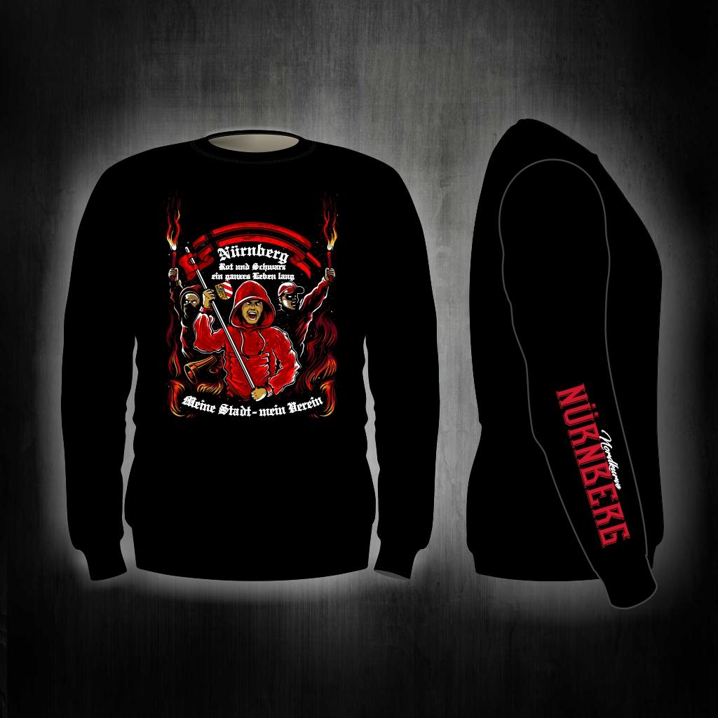 Sweat Shirt  Front + Ärmeldruck   Rot und Schwarz ein ganzes Le