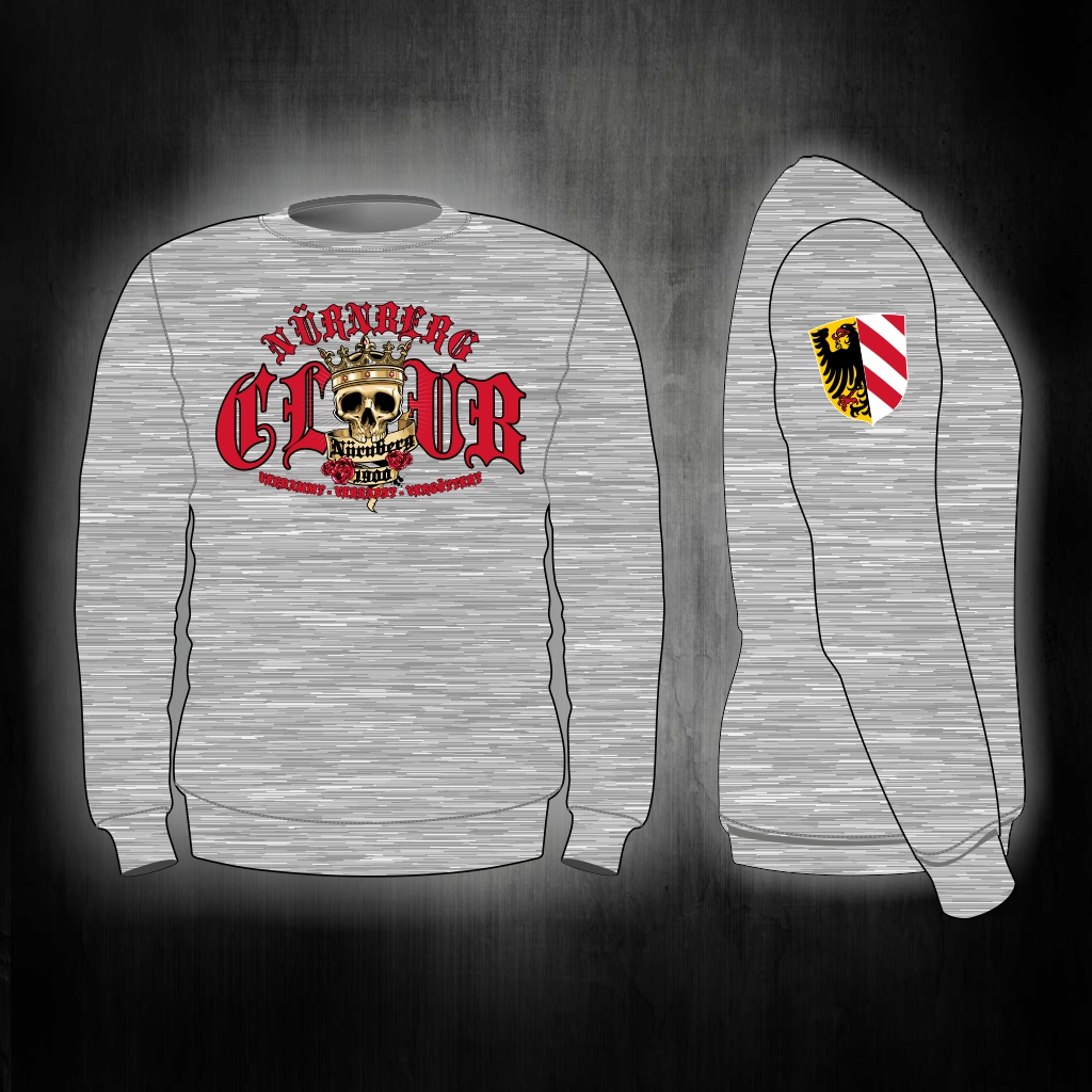 Sweat Shirt  Front + Ärmeldruck   CLUB  Skull  graumeliert