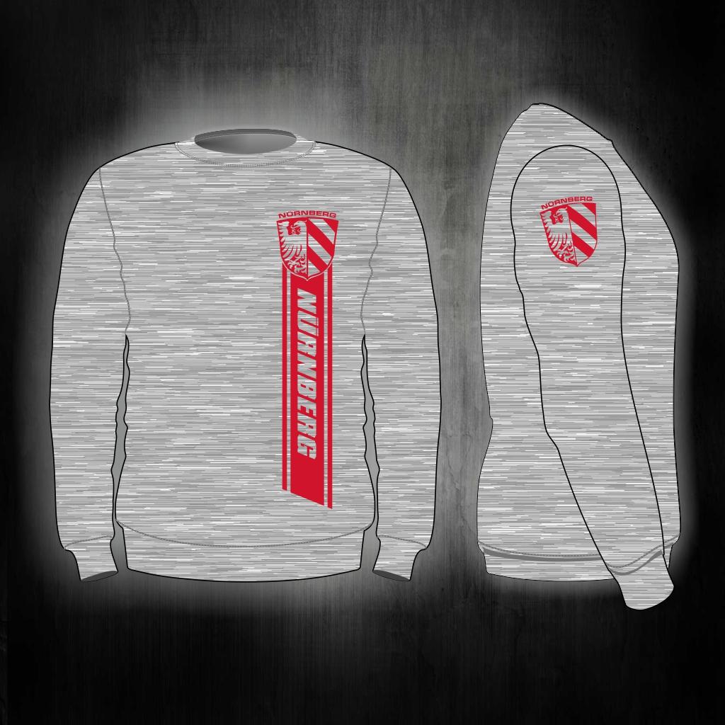 Sweat Shirt  Front + Ärmeldruck   Streifen Nürnberg mit Stadtw