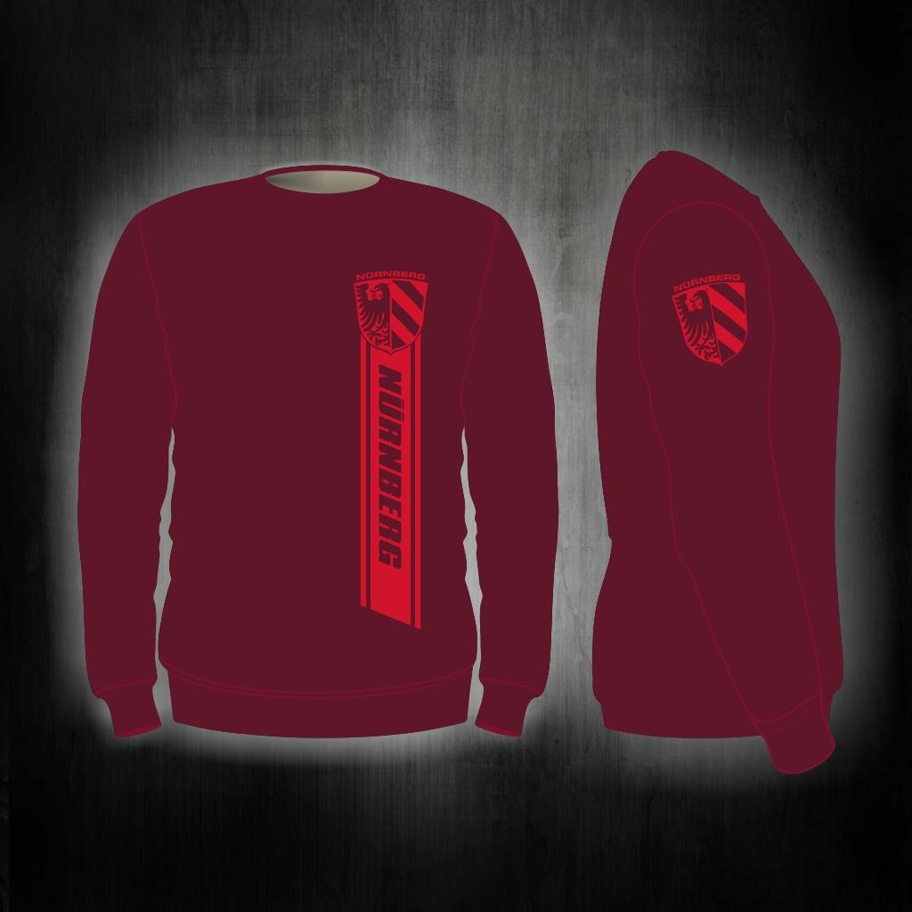 Sweat Shirt  Front + Ärmeldruck  Streifen Nürnberg  weinrot
