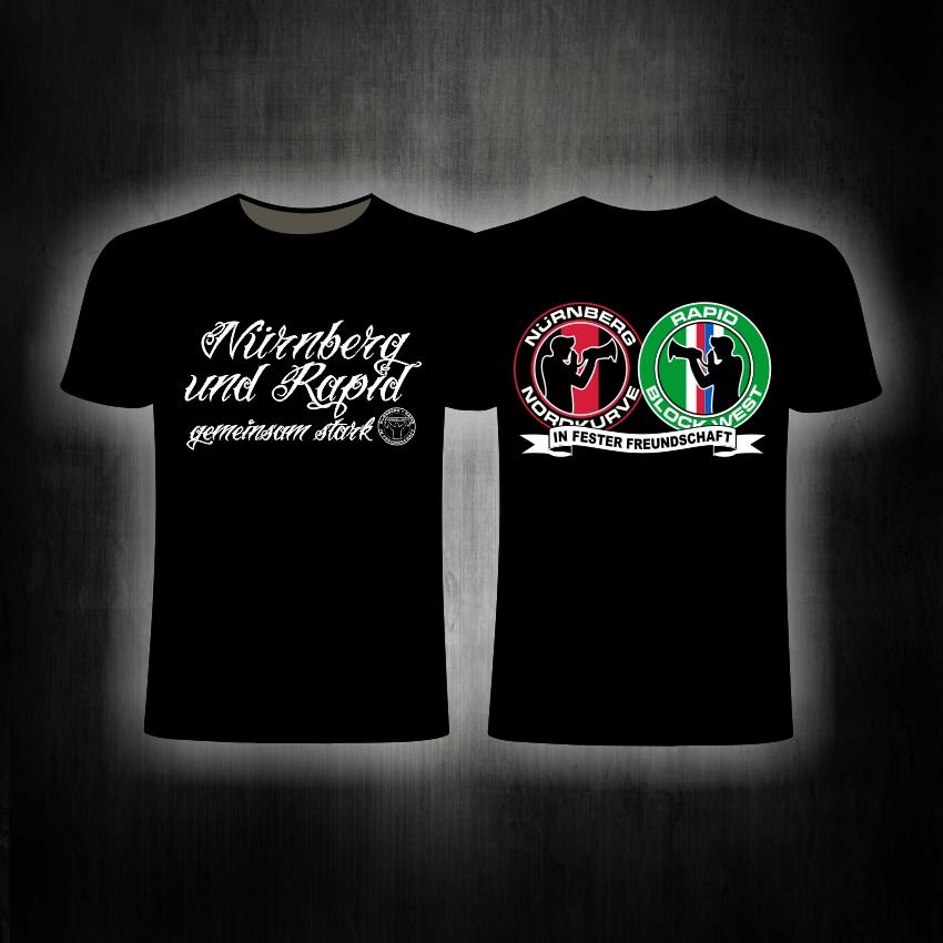T-Shirt  beidseitig bedruckt 'Nürnberg und Rapid' gemeinsam sta