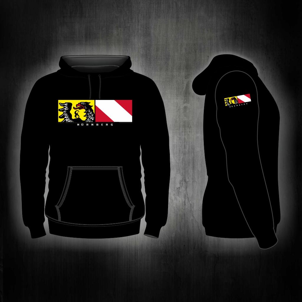 Kapuzen Sweatshirt Front + Ärmeldruck  - Stadtwappen Streifen s