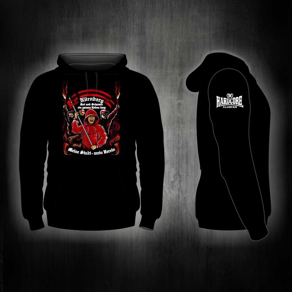 Kapuzen Sweatshirt Front + Ärmeldruck   Hardcore Clubfan