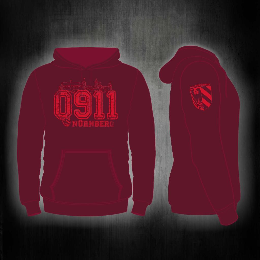Kapuzen Sweatshirt Front + Ärmeldruck   0911 weinrot