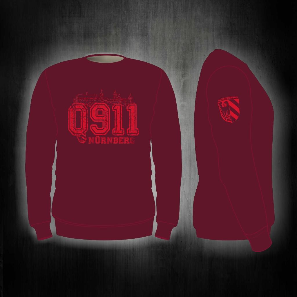 Sweat Shirt  Front + Ärmeldruck   0911 weinrot