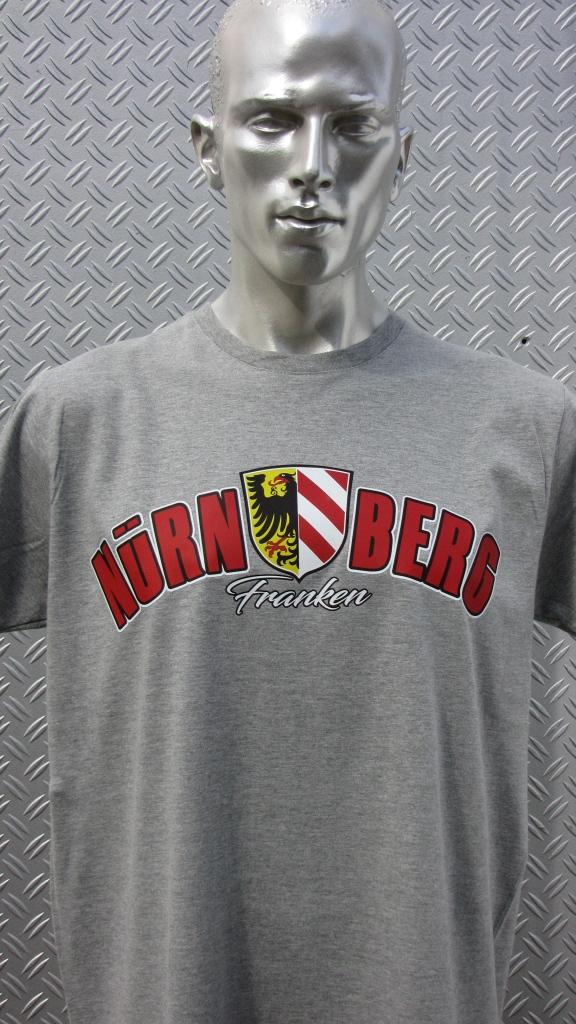 T-Shirt beidseitig bedruckt - Stadtwappen gebogen  grau meliert