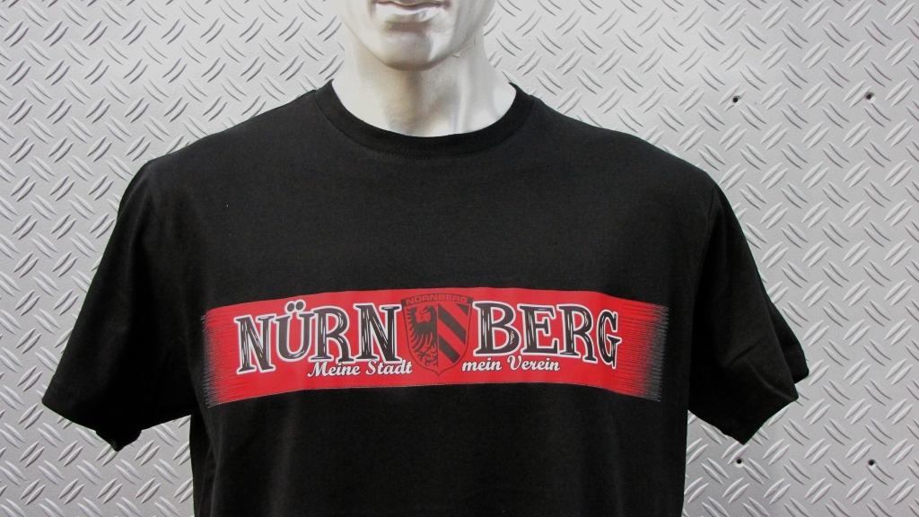 T-Shirt einseitig bedruckt  roter Streifen    schwarzes T-Shirt