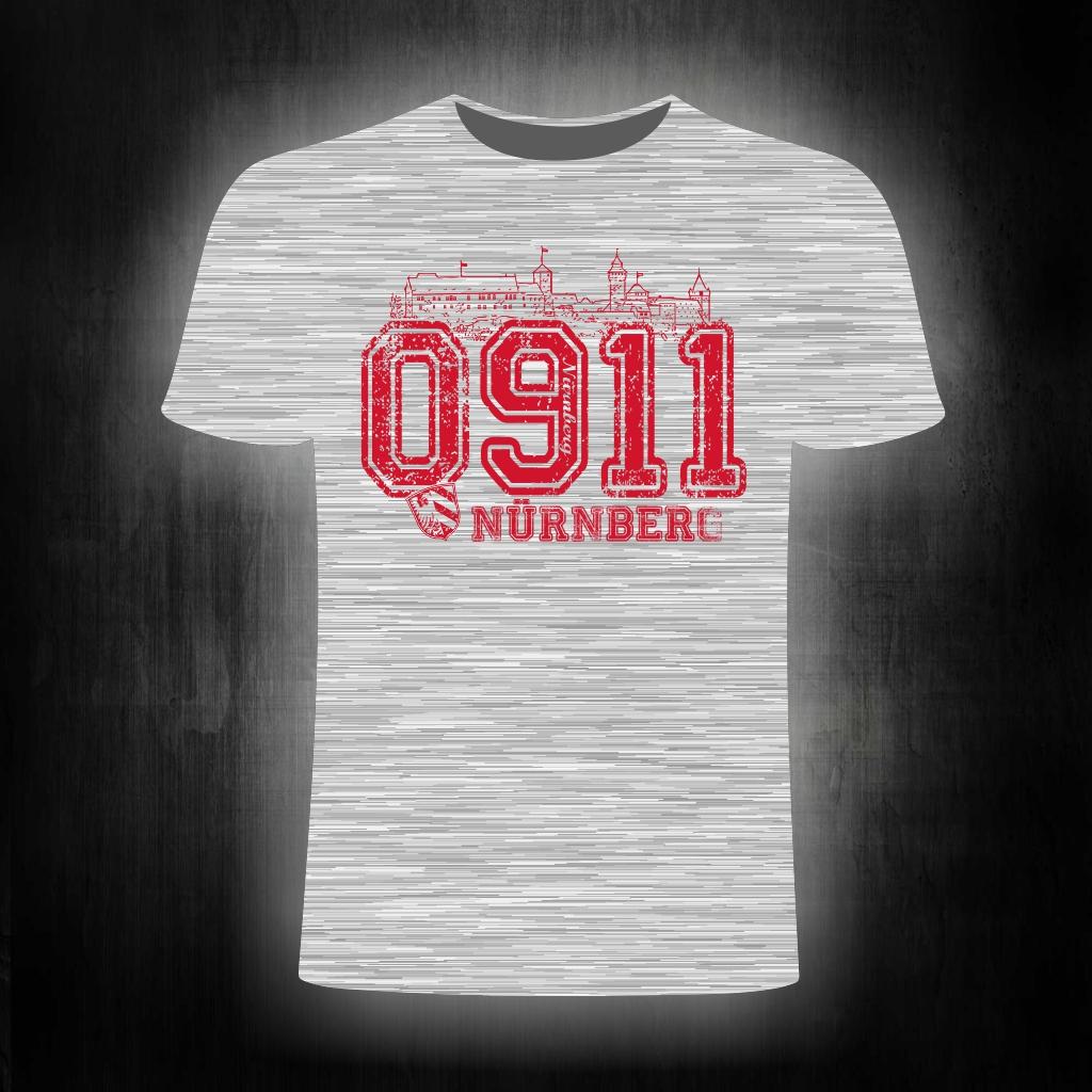 T-Shirt einseitig bedruckt  0911 grau meliert