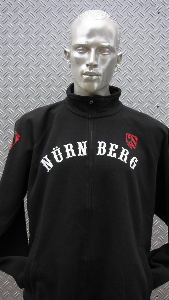 Sweat Jacke mit Zipper, 2 Taschen  Nürnberg gebogen