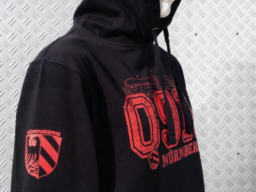 Kapuzen Sweatshirt Front + Ärmeldruck   0911 schwarz