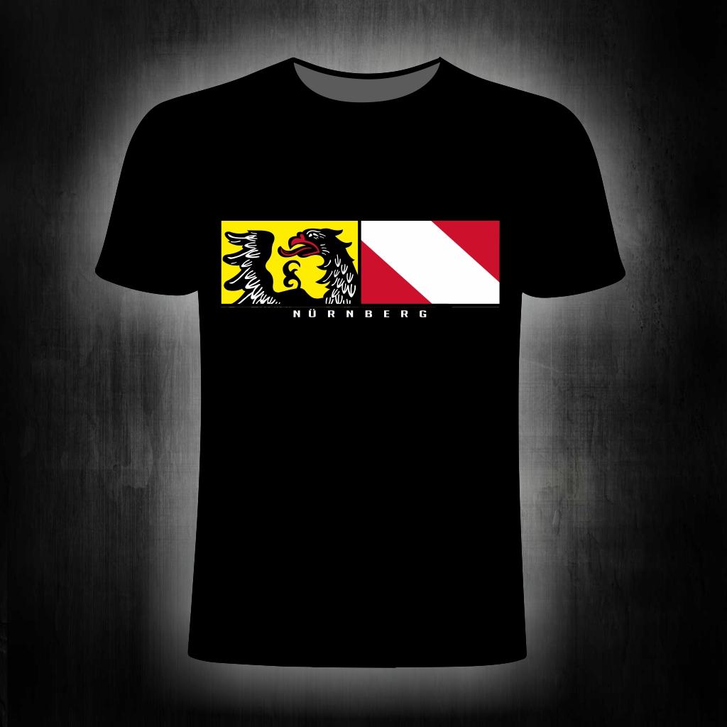 T-Shirt einseitig bedruckt  Stadtwappen Streifen   schwarz