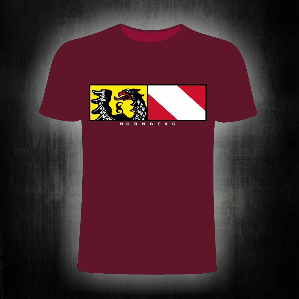 T-Shirt einseitig bedruckt  Stadtwappen Streifen   weinrot