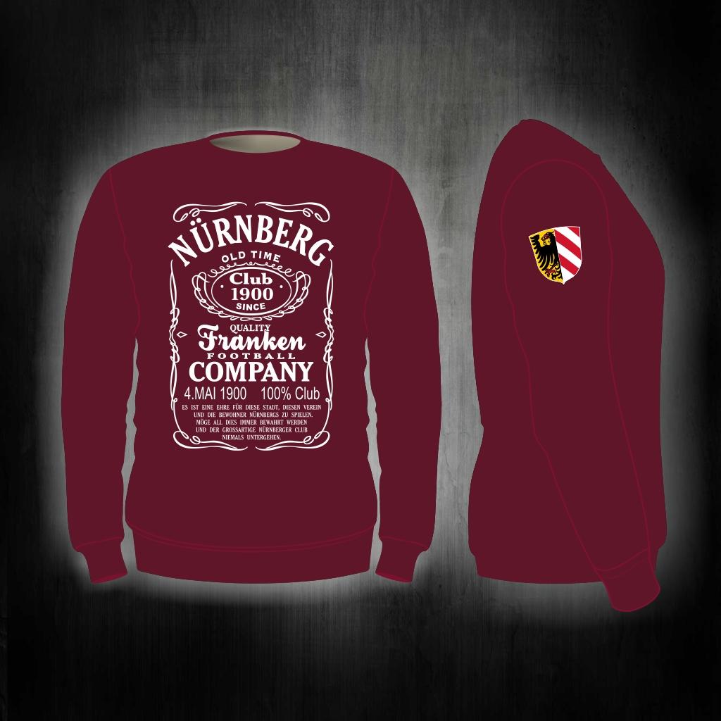 Sweat Shirt  Front + Ärmeldruck  Old Time  weinrot