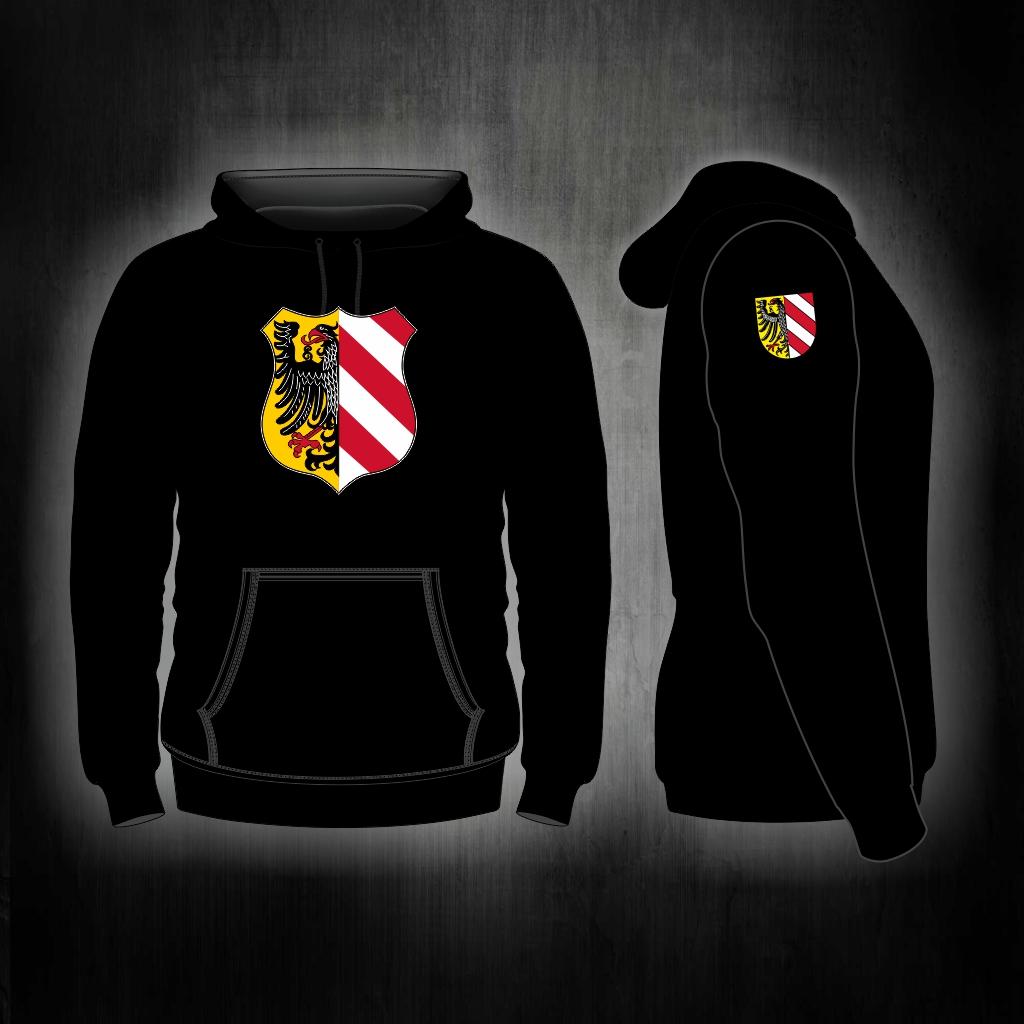 Kapuzen Sweatshirt Front + Ärmeldruck   Stadtwappen  schwarz