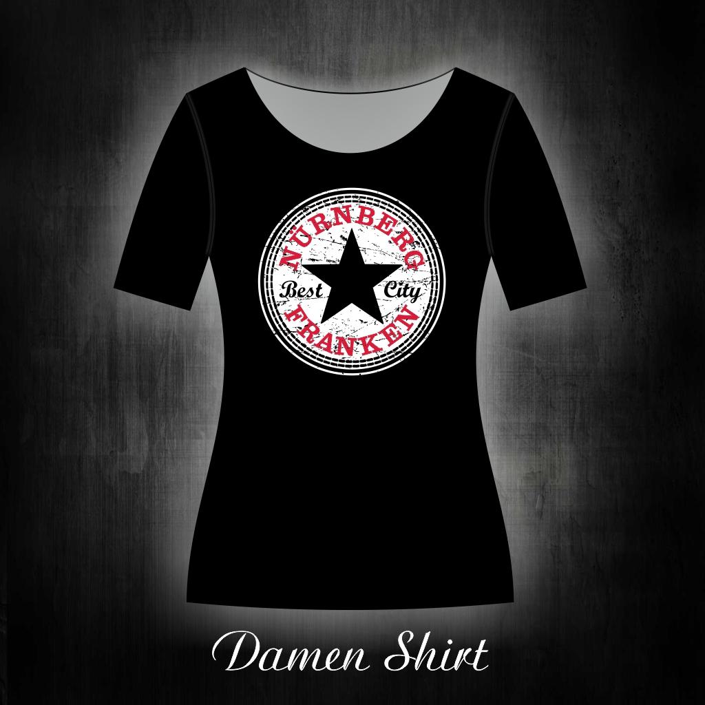 Damen T-Shirt einseitig bedruckt  Star schwarz