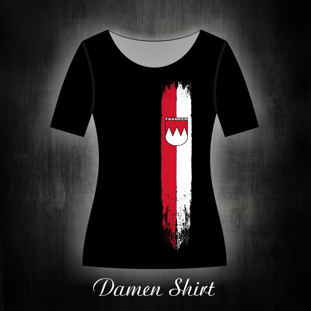 Damen T-Shirt einseitig bedruckt  Franken Vintage Streifen
