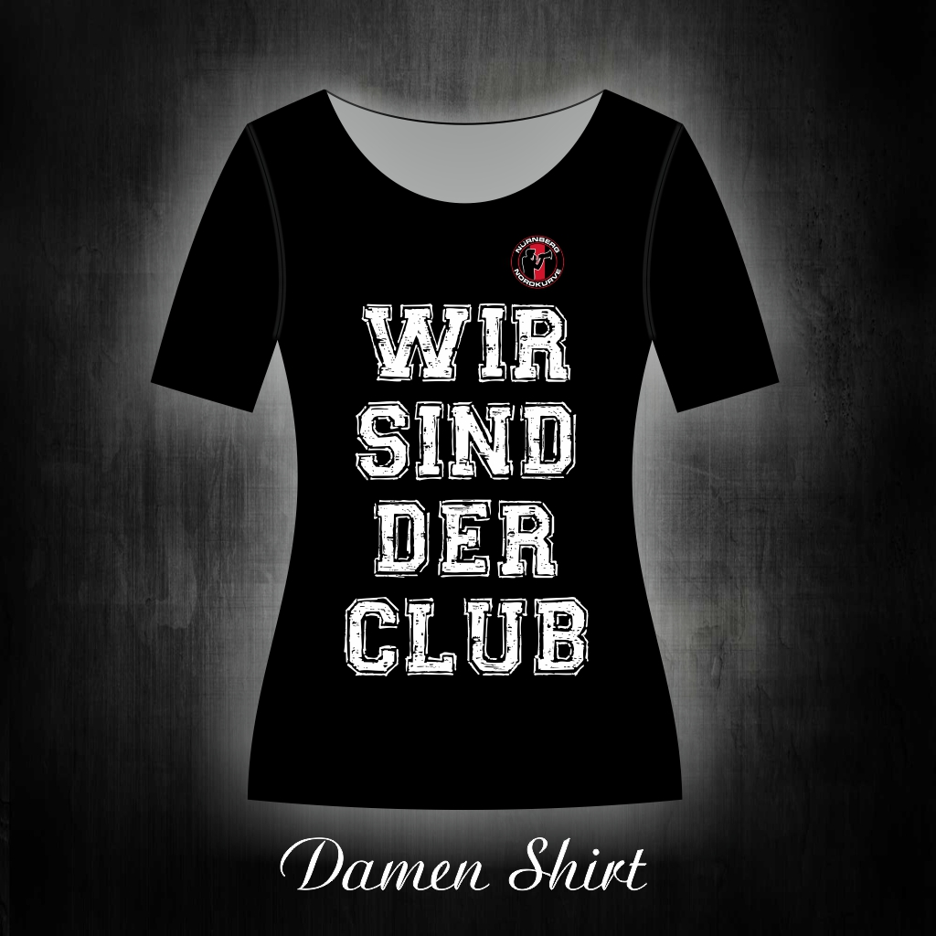 Damen T-Shirt einseitig bedruckt  Wir sind der Club  schwarz