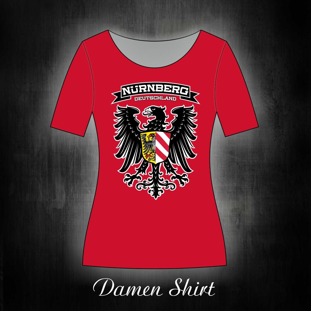 Damen T-Shirt einseitig bedruckt  Adler Stadtwappen rot