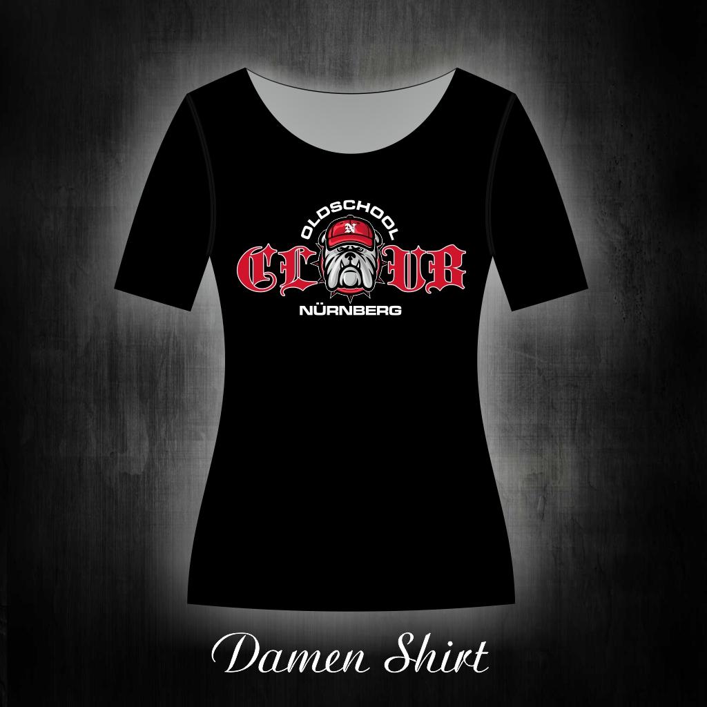 Damen T-Shirt einseitig bedruckt  Club Bulldog Oldschool
