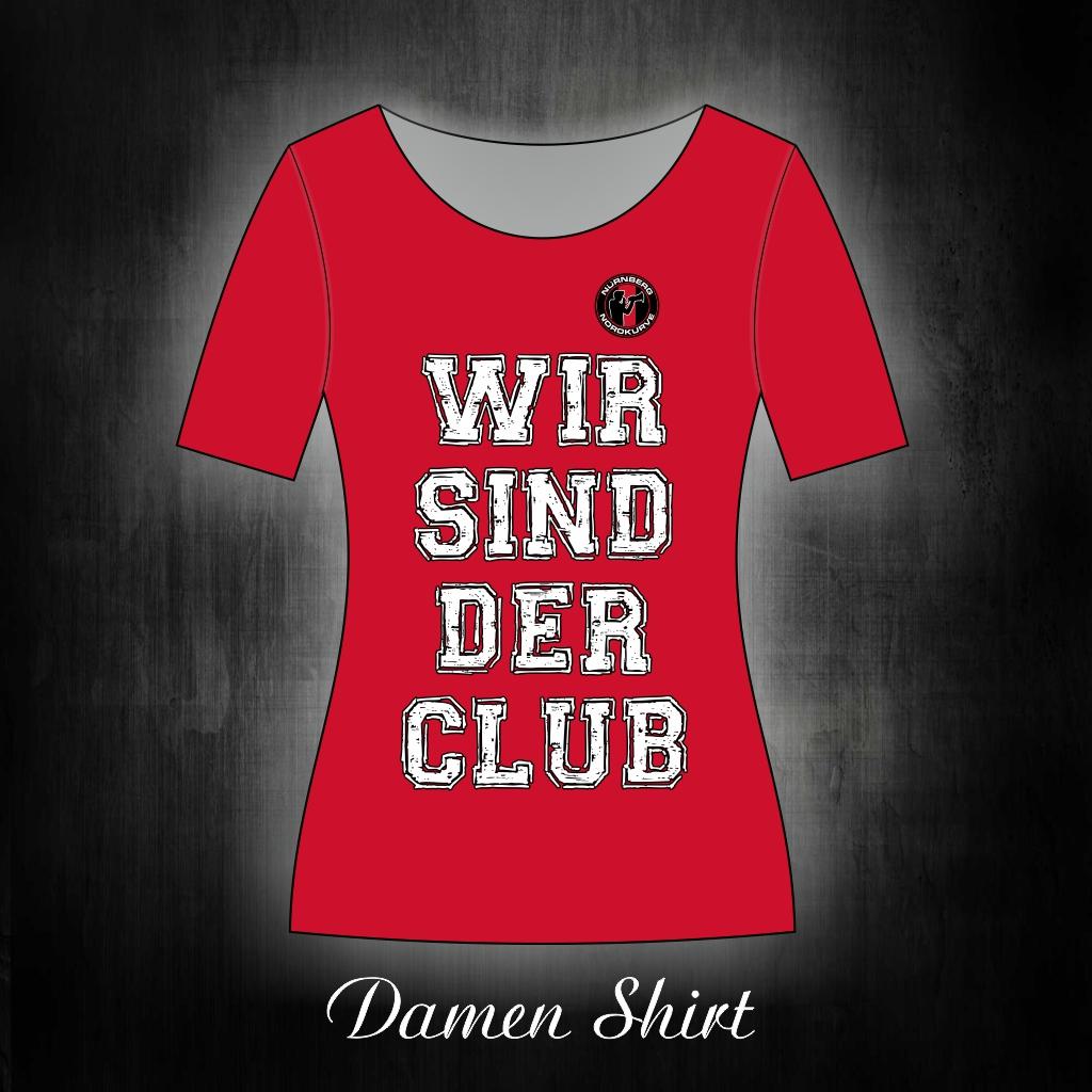 Damen T-Shirt einseitig bedruckt  Wir sind der Club  rot