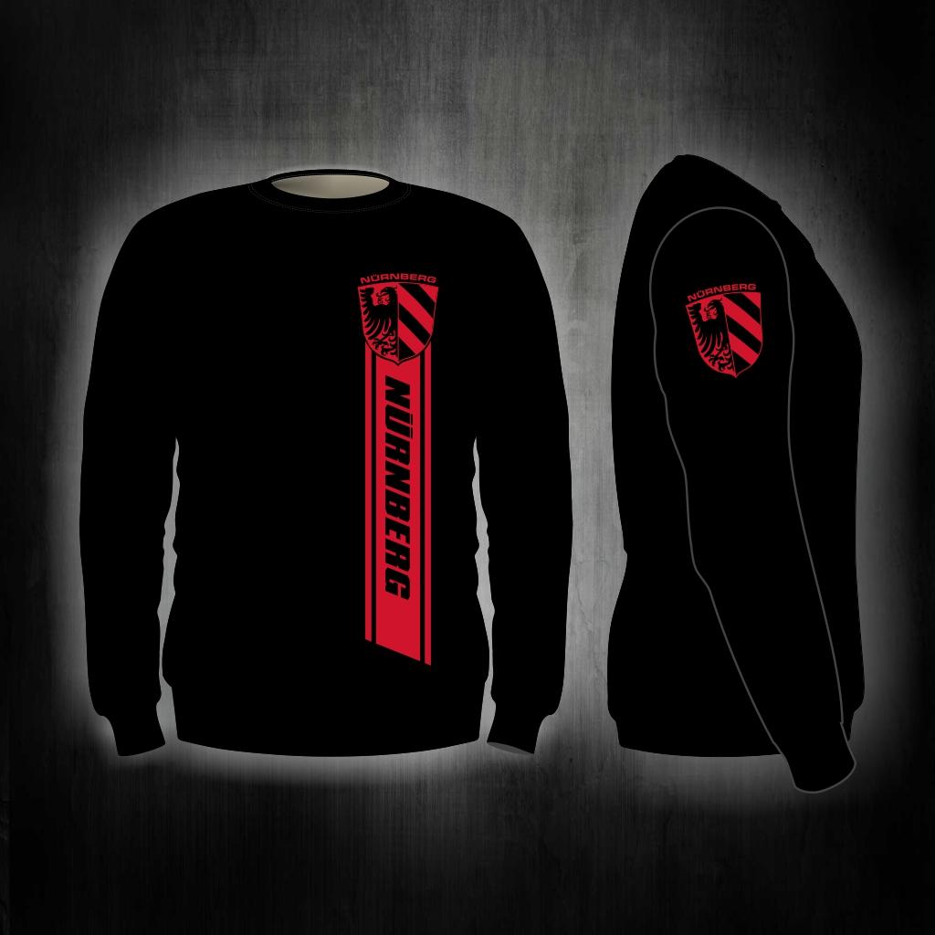 Sweat Shirt  Front + Ärmeldruck  Nürnberg Streifen  schwarz
