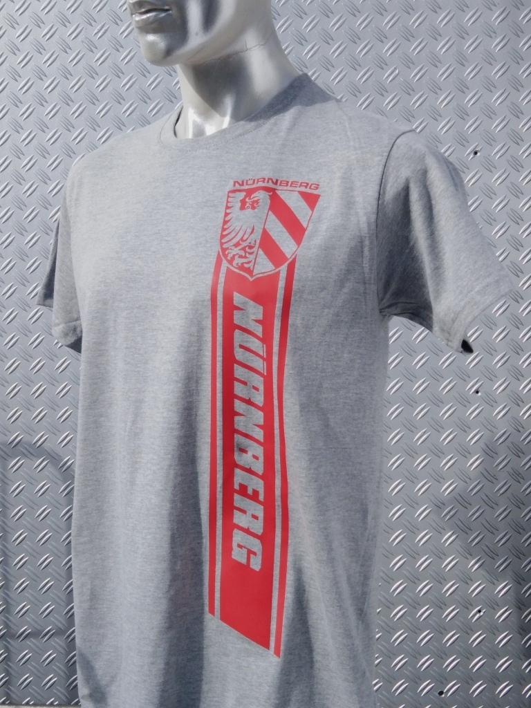 T-Shirt einseitig bedruckt  Nürnberg Streifen grau meliert