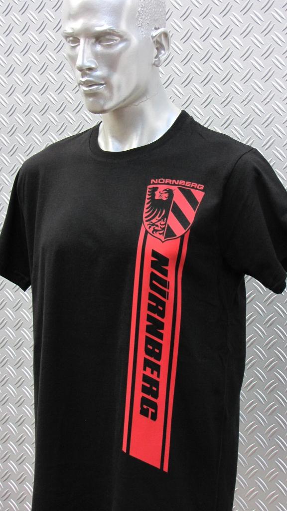 T-Shirt einseitig bedruckt Nürnberg Streifen schwarz