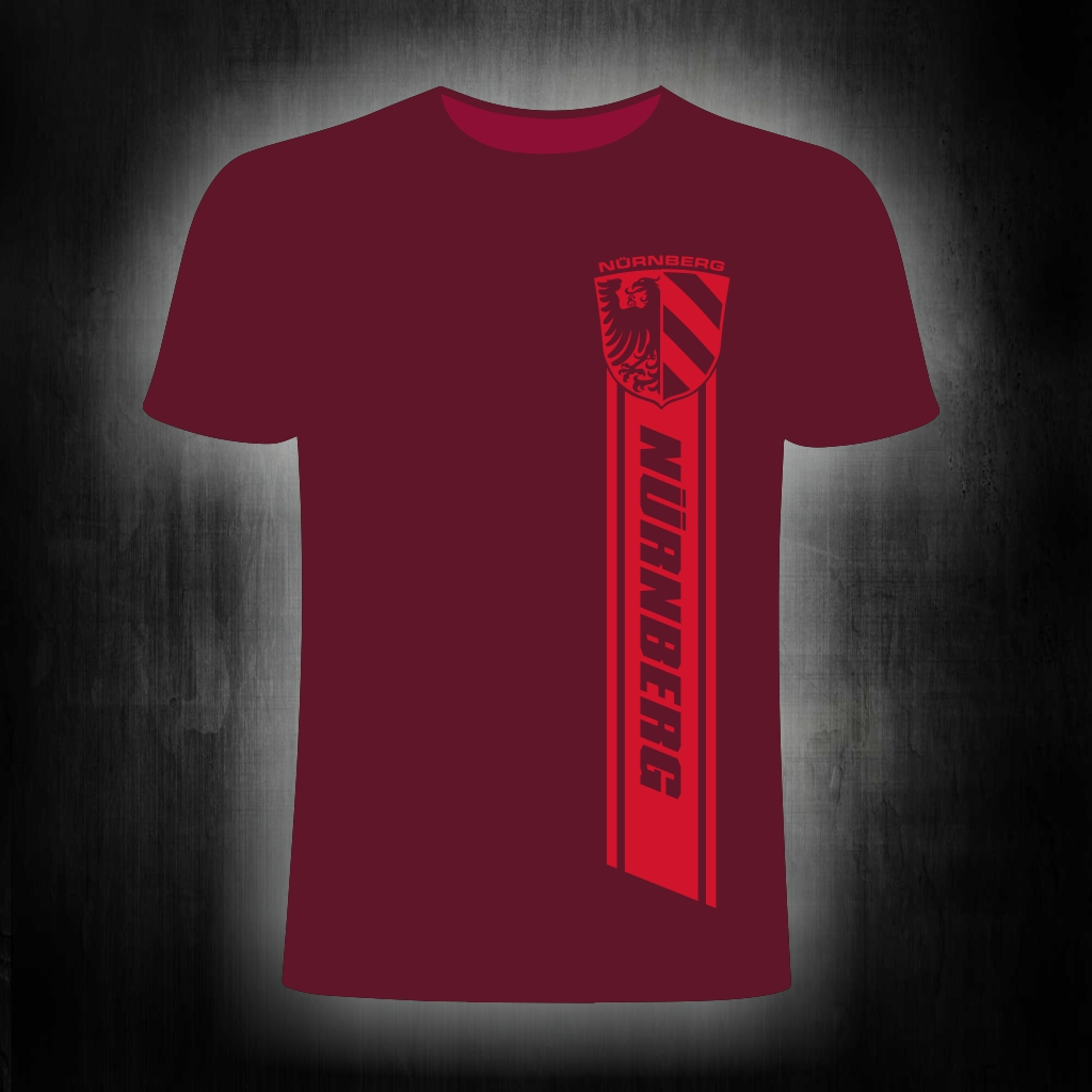 T-Shirt einseitig bedruckt  Nürnberg Streifen weinrot