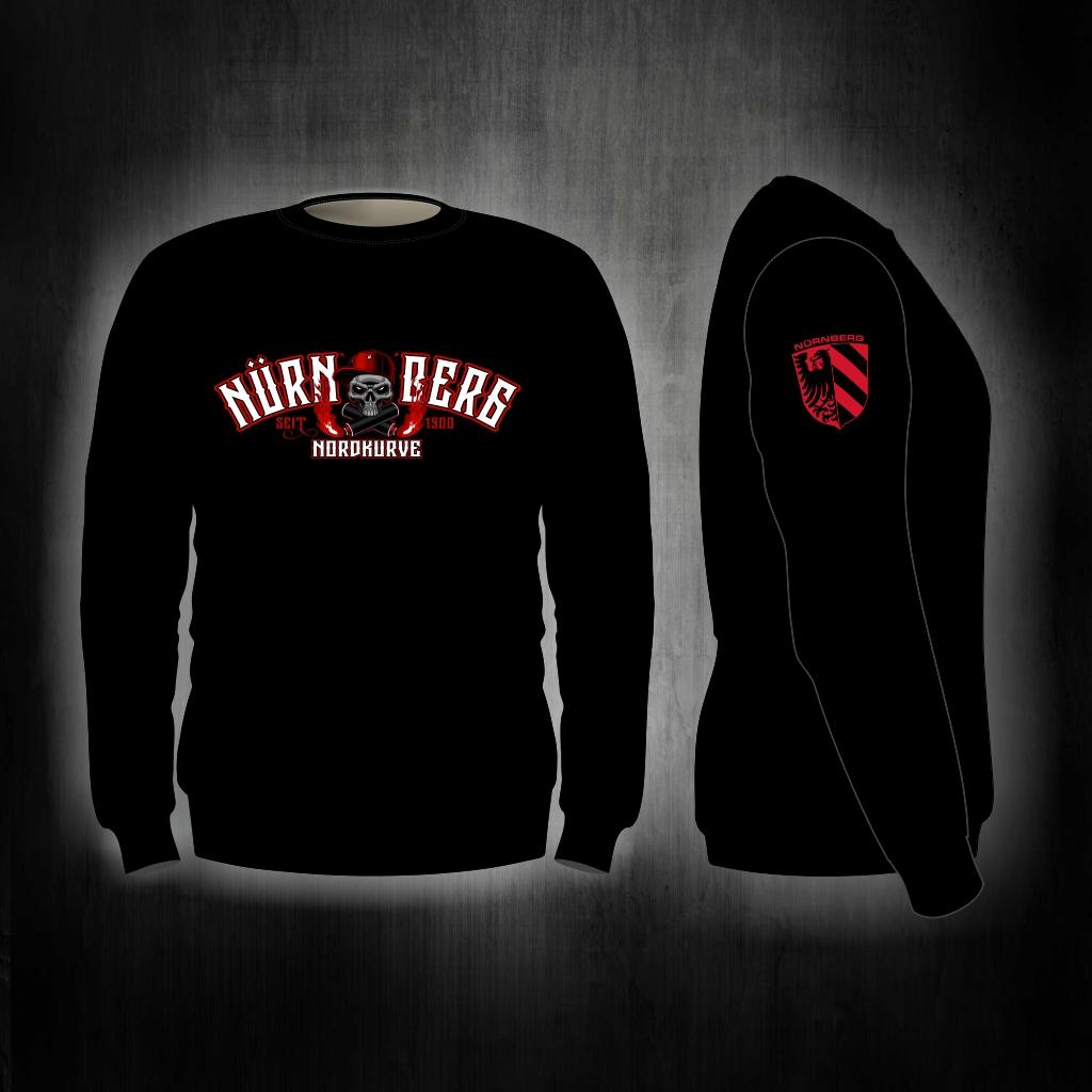 Sweat Shirt  Front + Ärmeldruck  Nordkurve Skull schwarz