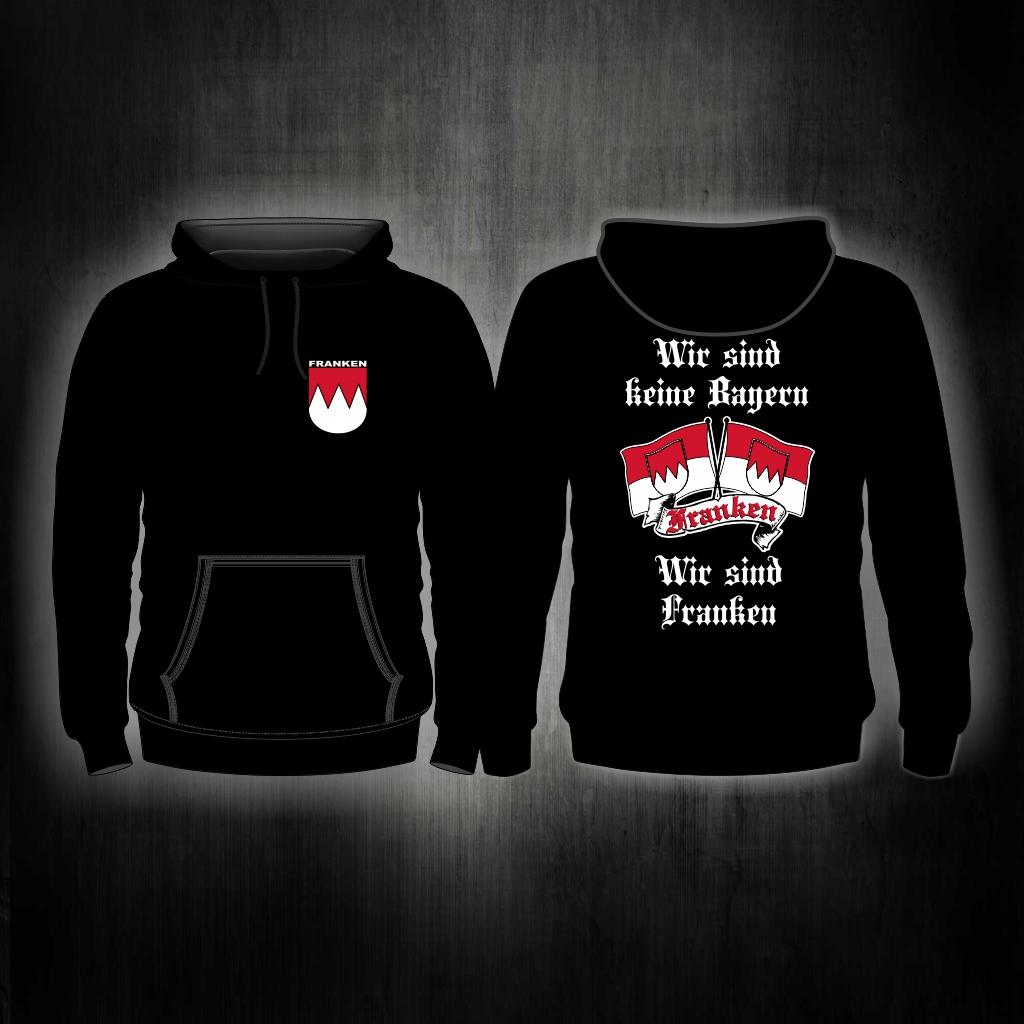 Kapuzensweat Shirt beidseitig bedruckt  'Nürnberg' Wir sind kei