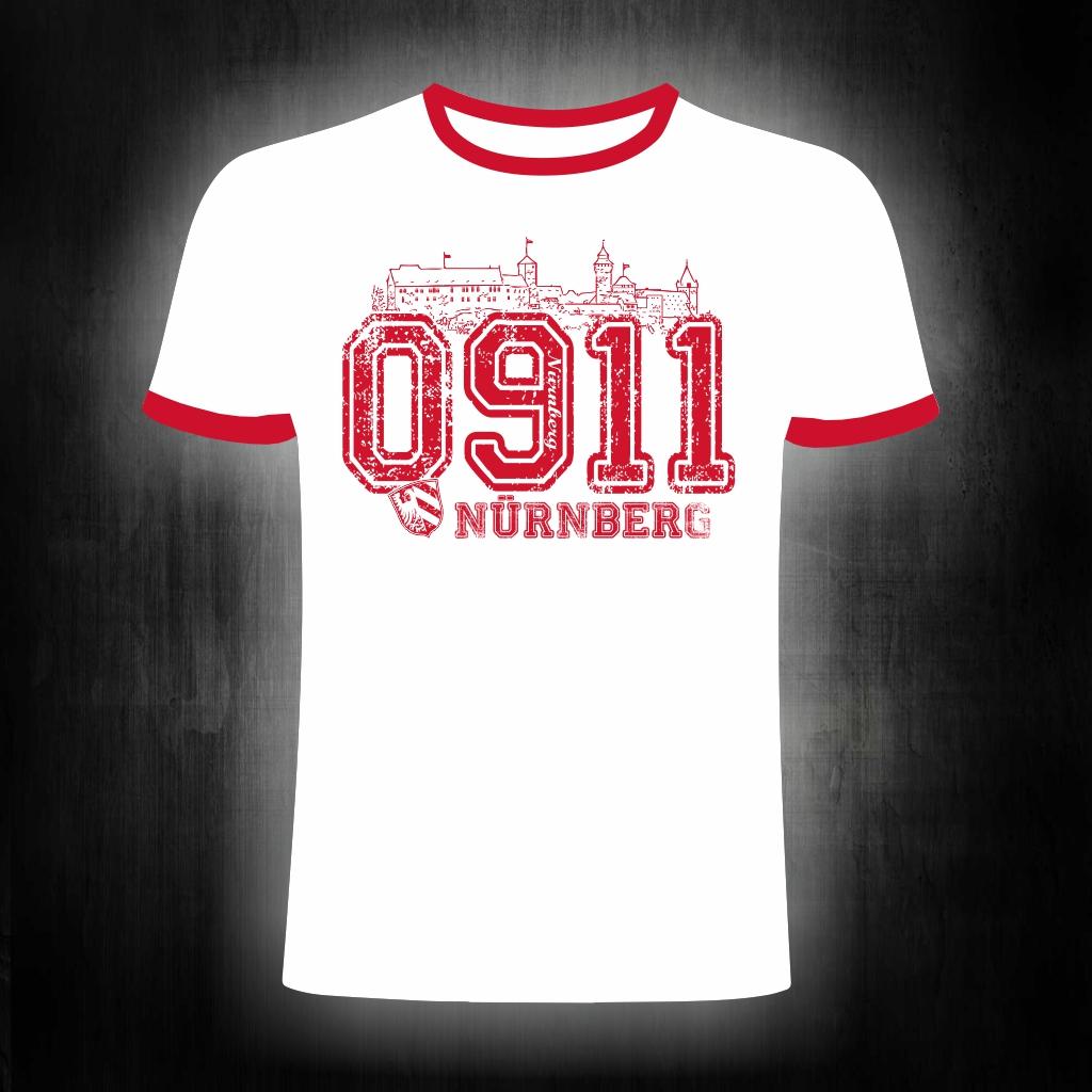 T-Shirt einseitig bedruckt  0911 weiß-rot