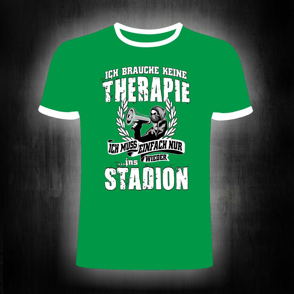 T-Shirt einseitig bedruckt  Ich brauche keine Therapie  grün