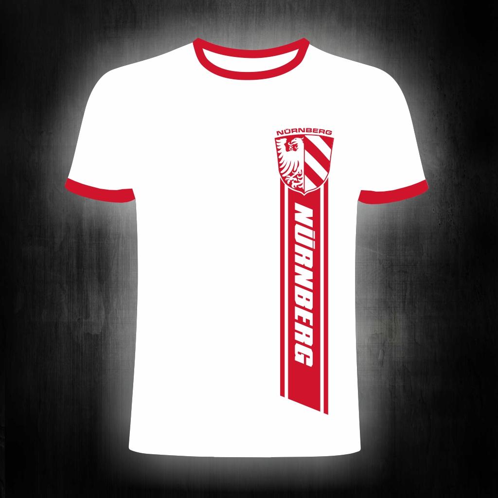T-Shirt einseitig bedruckt  roter Streifen    weiß-rotes Shirt