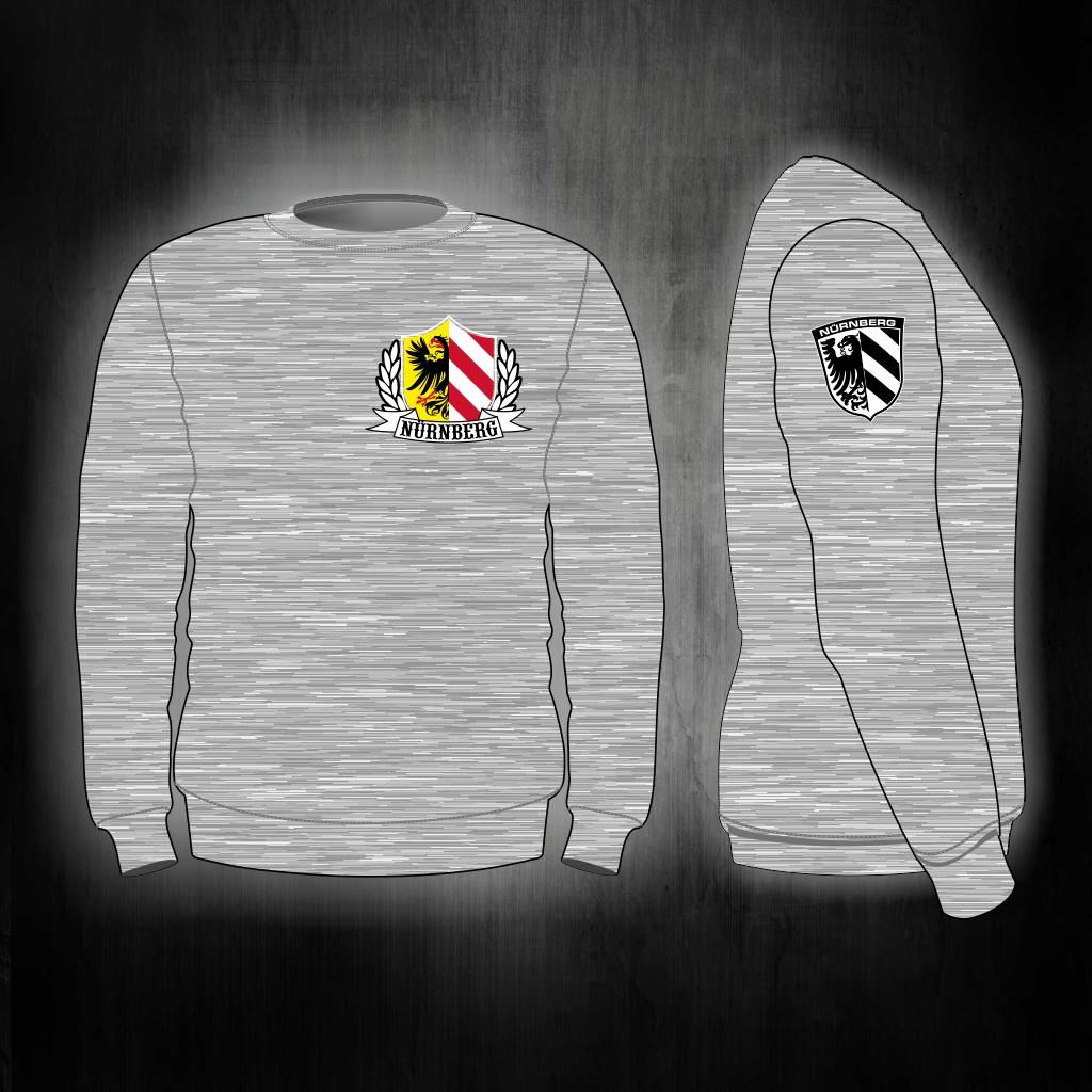 Sweat Shirt  Front + Ärmeldruck  Stadtwappen mit Lorbeerkranz g
