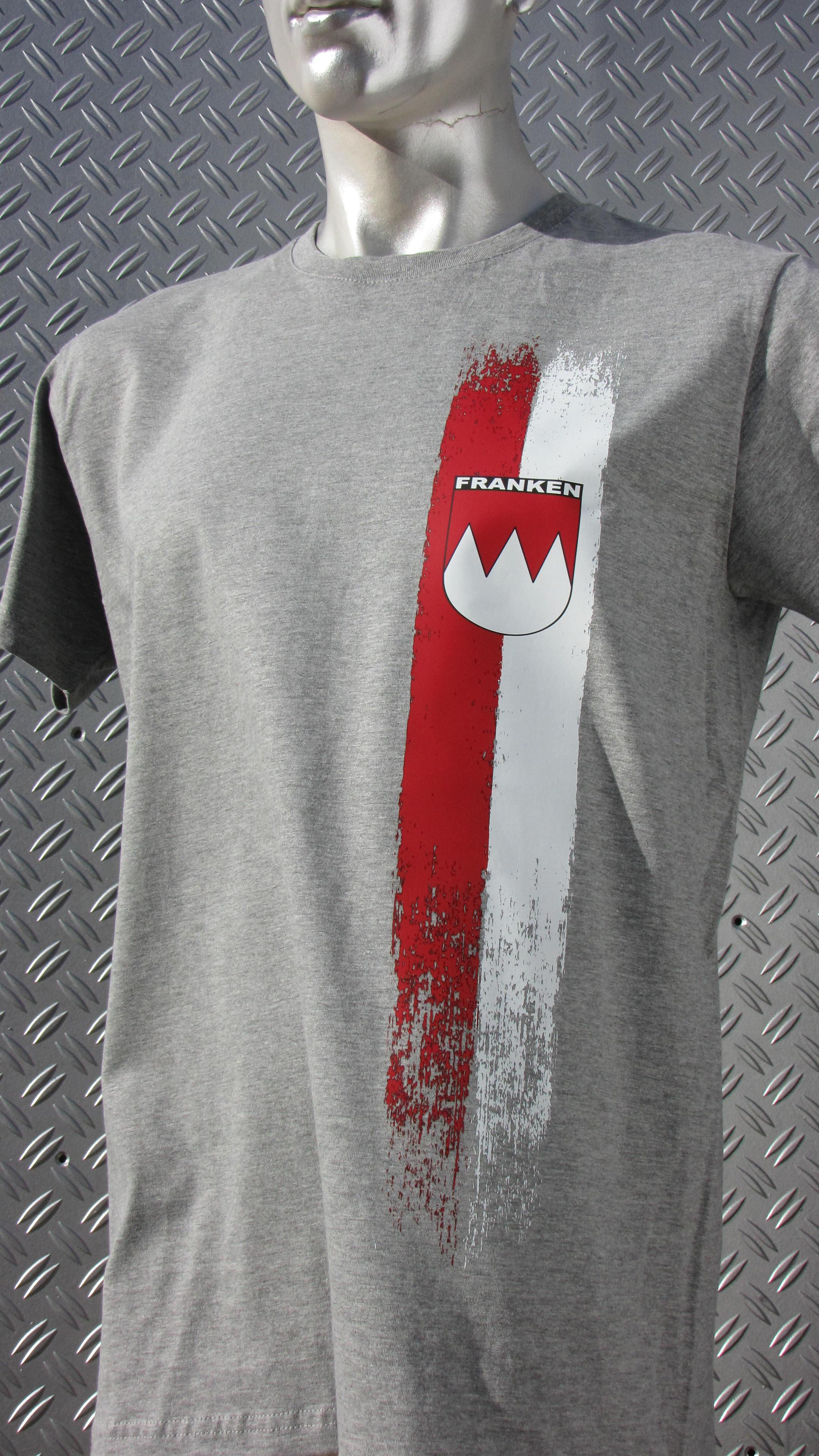 T-Shirt einseitig bedruckt  Franken Vintage Streifen   grau meli