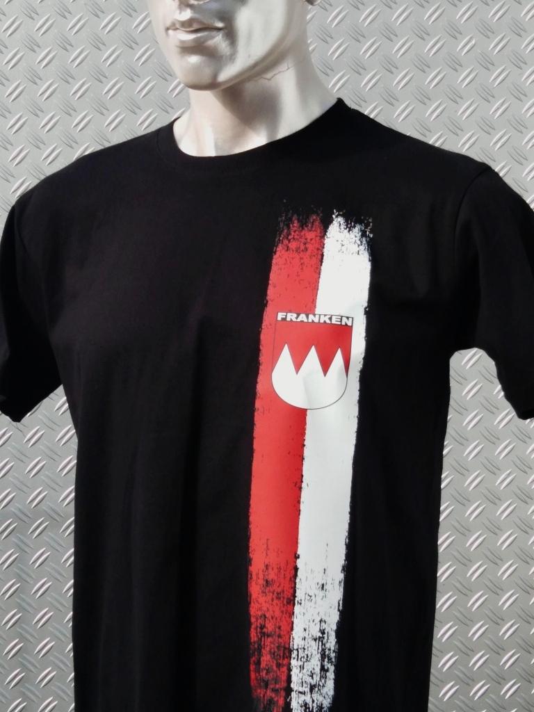 T-Shirt einseitig bedruckt  Franken Vintage Streifen   schwarz