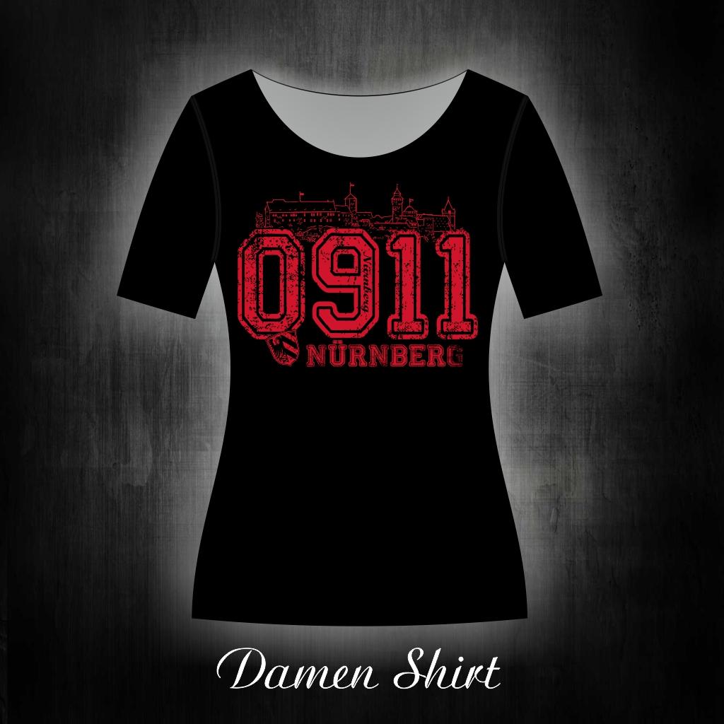 Damen T-Shirt einseitig bedruckt 0911 schwarz