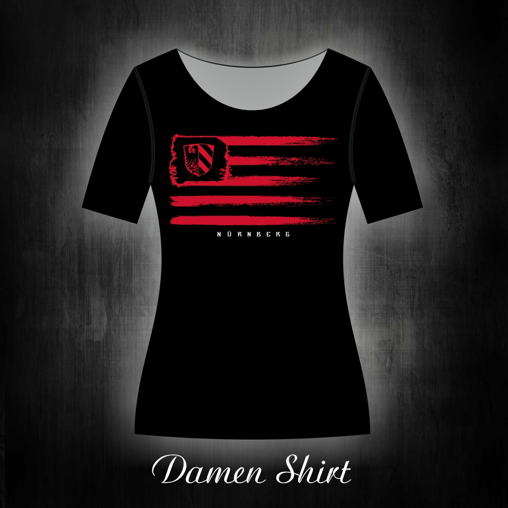 Damen T-Shirt einseitig bedruckt Vintage Fahne  schwarz