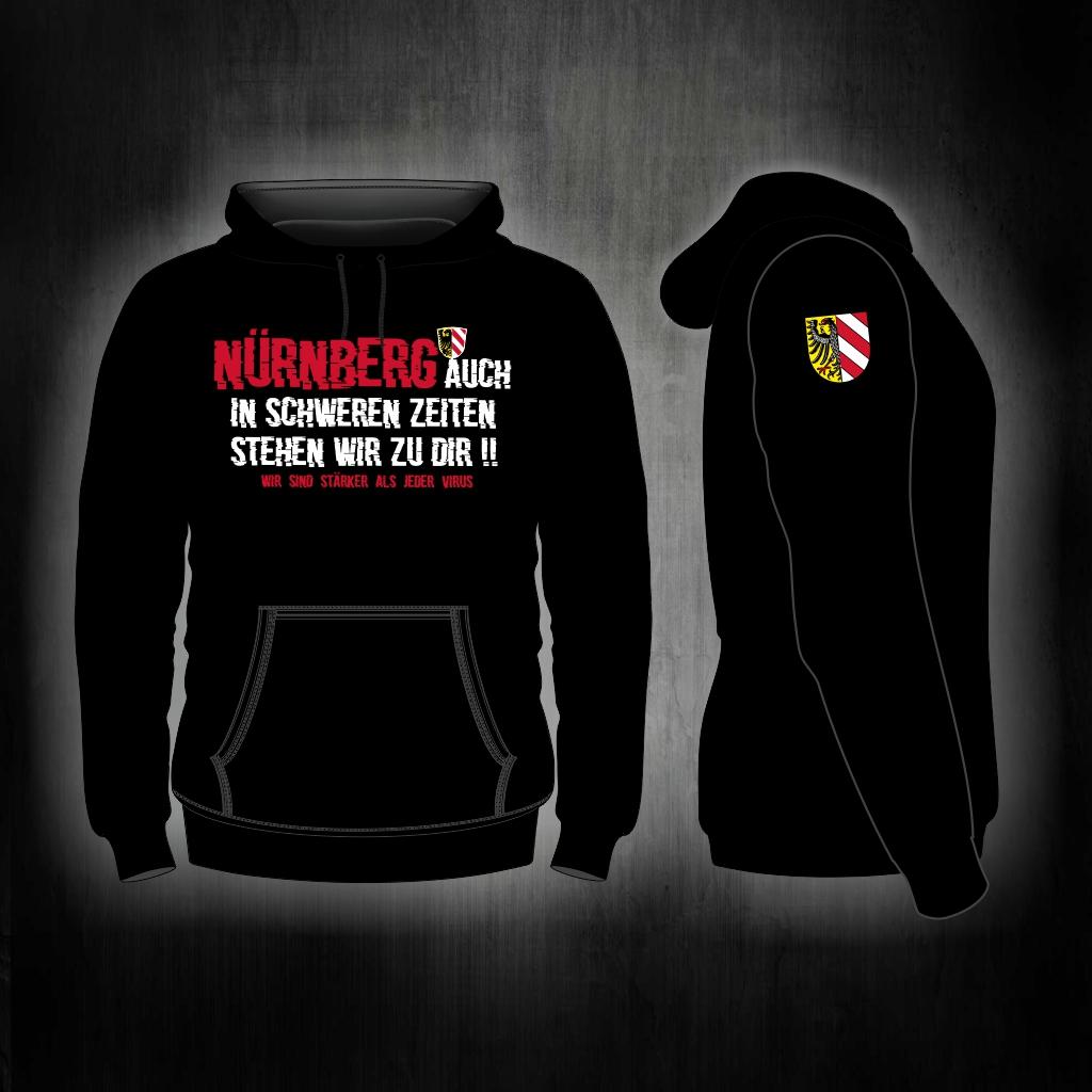 Kapuzen Sweatshirt Front + Ärmeldruck  Auch in schweren Zeiten