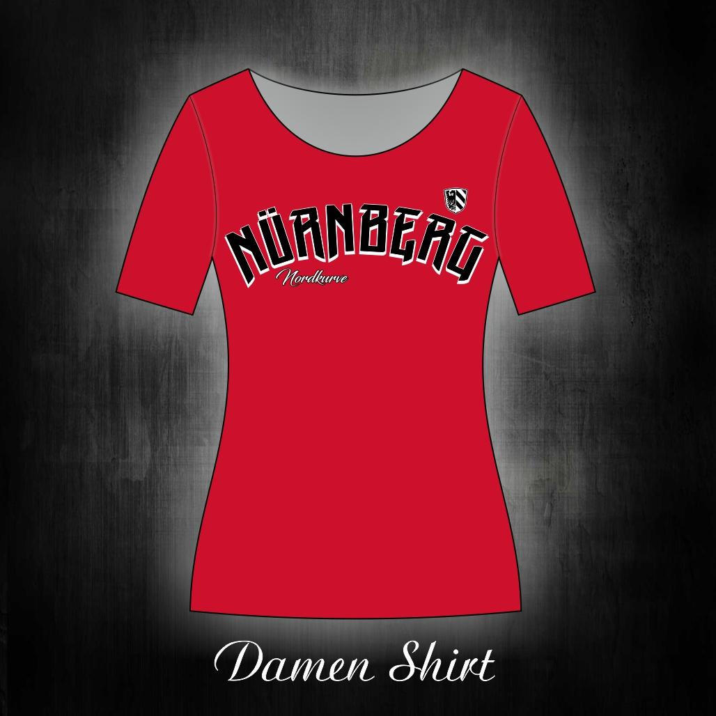 Damen T-Shirt einseitig bedruckt Nürnberg Nordkurve  rotes Shir