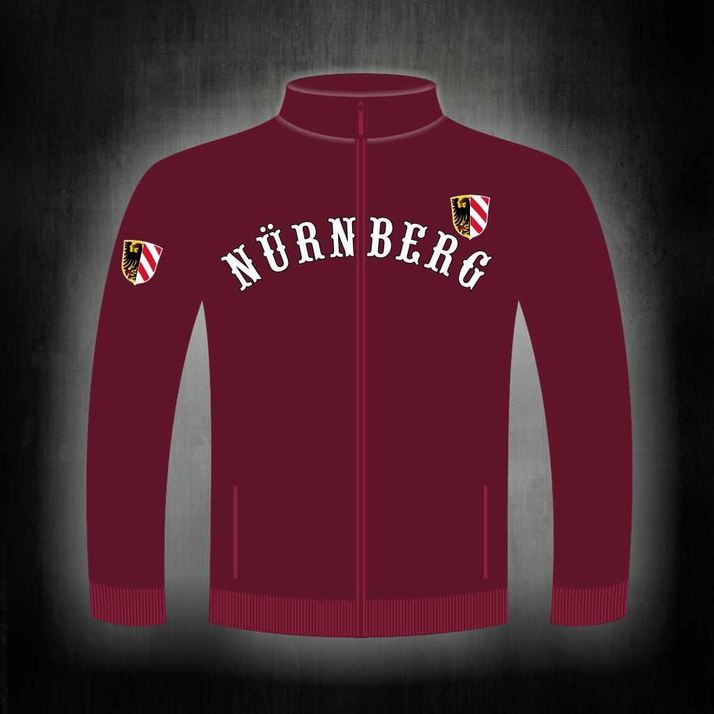 Sweat Shirt  Front + Ärmeldruck  Nürnberg gebogen