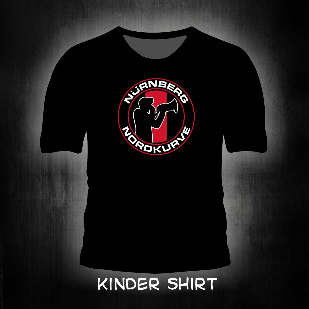 Kinder T-Shirt einseitig bedruckt 'Nürnberg Nordkurve' schwarz