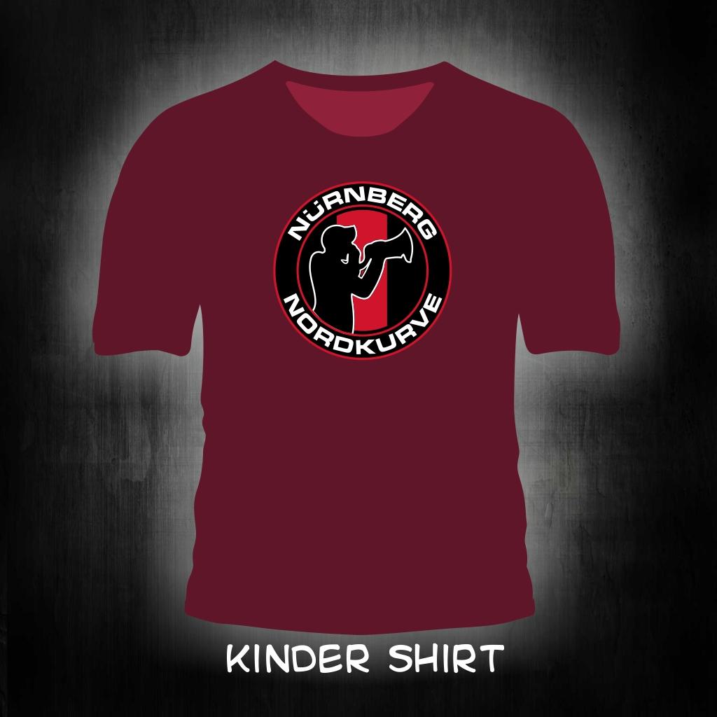 Kinder T-Shirt  einseitig bedruckt  'Nürnberg Nordkurve' weinro